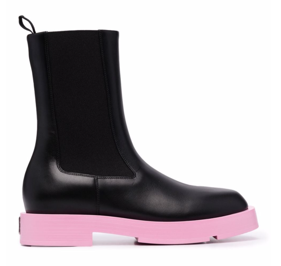 Givenchy black and pink contrast sole boots